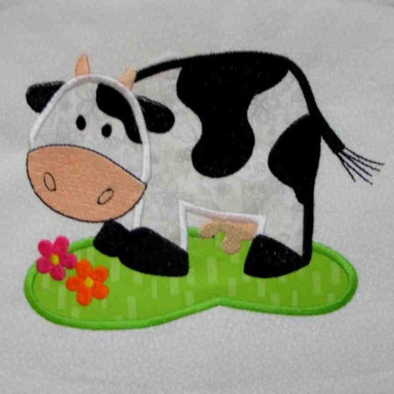 COW Farm Applique and Embroidered Quilt Block by Amy