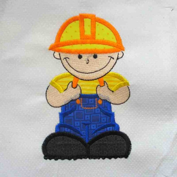 CONSTRUCTION Boy Applique and Embroidered Quilt Block by Amy
