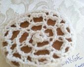 White large crochet bun cover
