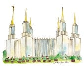 LDS Mormon Temple Print, Washington DC, 8x10