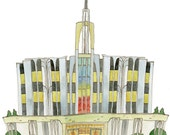 LDS Mormon Temple Print, Seattle, Washington 11x17