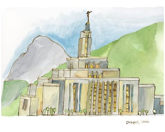 LDS Mormon Temple Print, Draper, Utah, 5x7