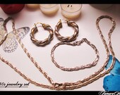 80s vintage jewelry set, golden color