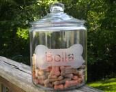 Etched Dog Treat Jar or Cookie Jar - One gallon jar