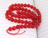 "strand Round Faceted Red Jade Beads ----- 6mm ----- about 62Pieces ----- gemstone beads--- 15"" in length"