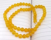 """strand Round Yellow Jade Beads----6mm ---- 60Pieces ---- gemstone beads--- 15"""" in length"""