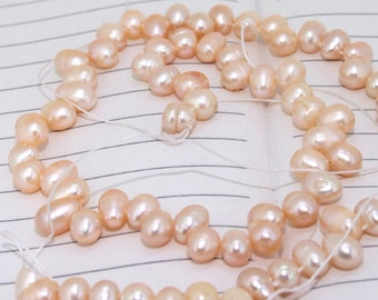 One Full Strand--- Pink Dancing Pure Freshwater Pearl----6-7mm----over 75 Pieces----14.5 inch strand