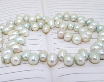 One Full Strand--- Spring Dancing Pure Freshwater Pearl----6-7mm----over 75 Pieces----14.5 inch strand