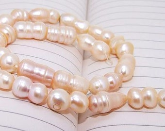 One Full Strand--- Luster Pink Peach Pure Freshwater Pearl----8-18mm----about more 20 Pieces----15 inch strand