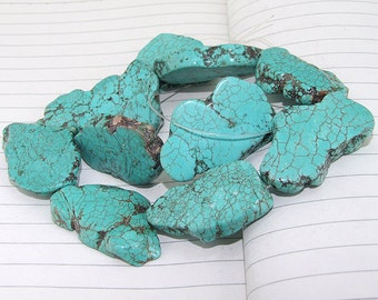 "Nugget Free Turquoise  Beads----20mm-35mm----about 10Pieces----15"" in length"