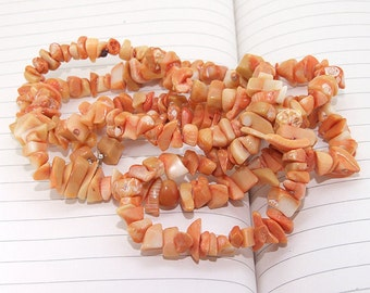 """Long Nugget Yellow Coral Beads----8mm ----gemstone beads--- 35"""" in length"""