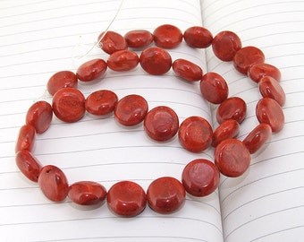 Coin Spong red Coral Beads----13mm----about 32 Pieces----gemstone beads