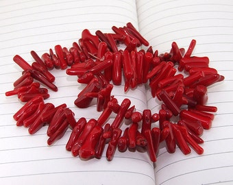 Big Branch red Coral Beads----6mm-14mm----about 120 Pieces----gemstone beads