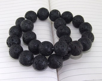 "Round Black Lava Gemstone  Beads---16mm ---- 25pieces --- gemstone beads--- 15 1/2"" in length"