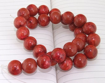 Round Red Spong Coral Beads --- 16mm --- Round Coral beads --- 15.5 inch Full strand --- 25 beads