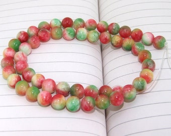 """strand Round Rainbow Candy Jade Beads----8mm ---- 52Pieces ---- gemstone beads--- 15"""" in length"""