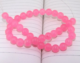 "strand Round Candy Pink Jade Beads ----- 10mm ----- about 41Pieces ----- gemstone beads--- 15.5"" in length"
