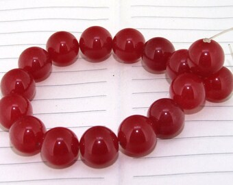 strand  Round Candy Red Jade  Smooth Round Beads ----- 14mm ----- about 16Pieces ----- gemstone beads