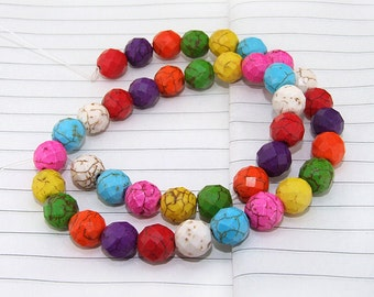 One Full Strand--- Super Faceted Rainbow Turquoise Beads----8mm 10mm ----about 40Pieces----15inch strand