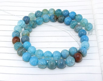 One Full Strand--- Round Candy Dragon Blue Agate Gemstone Beads----8mm ----about 45Pieces----14.5inch strand