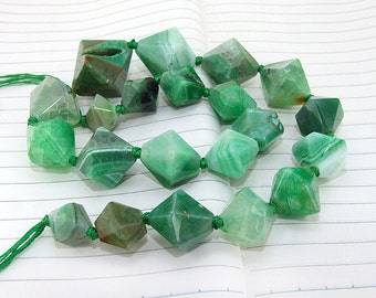 "Knotted Full Strand Green  Agate Beads ----- 12mmx25mm -(1inch)---- about 20Pieces ----- gemstone beads--- 18"" in length"