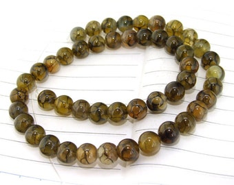 One Full Strand---  Round Dragon Coffee  Agate Gemstone Beads----8mm ----about 48Pieces----15inch strand