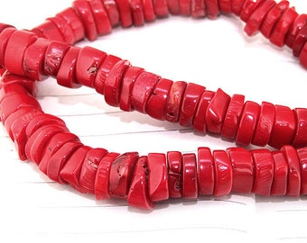 "One Full Strand ---- Heishi Red Coral Beads----7-8mm-- gemstone beads--- 15.5"" in length"