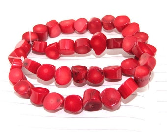 """One Full Strand ----Oval Red Coral Beads----10mm ---- 38Pieces--- gemstone beads--- 15.5"""" in length"""