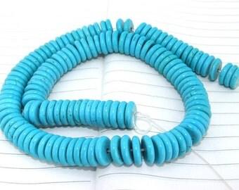 One Full Strand--- Heishi Turquoise Gemstone Beads ----12mm----16inch in length