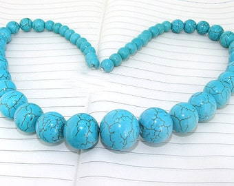 One Full Strand--- Round Turquoise Gemstone Beads ----8mm-20mm----45 Pieces----19 inch strand