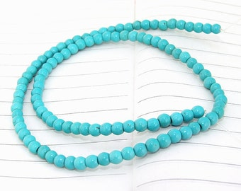 One Full Strand--- Round Turquoise Gemstone Beads ----4mm----90 Pieces----15.5 inch strand