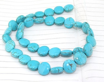 One Full Strand--- Coin Turquoise Gemstone Beads ----12mm----35 Pieces----16 inch strand