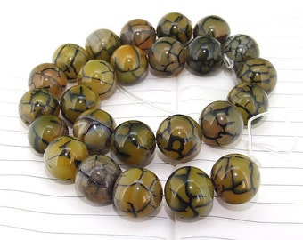 One Full Strand--- Round Candy Dragon Coffee Agate Gemstone Beads----16mm ----about 25Pieces----15inch strand