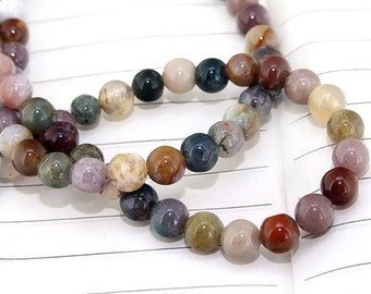 One Full Strand--- Round Natural Agate Gemstone Beads----6mm ----about 68Pieces----15.5inch strand