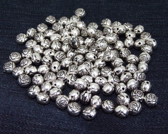 25Beads Ball Rose Flower Antique Silver Victorian Connector Link Beads ----- 6mmx8mm ----- 25Pieces 2AD