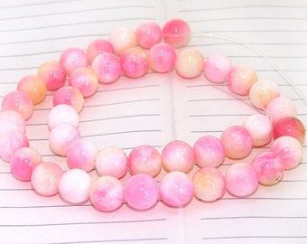Round Candy Pink Jade Gemstone Beads---- 10mm ----about 40Pieces---- 15.5inch one strand