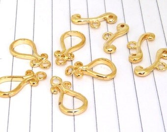 10clasps of Solid Brass lobster Vase clasp Yellow Gold Plated  Beads ----- 10mmx20mm ----- 10Pieces 2C