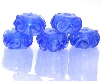 Charm Handwork Blue Lampwork Blue Twist Gemstone Beads Rondelle Shape ---- 9mmx15mm ----about 5 Pieces