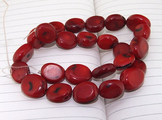 Egg red Coral Beads----14mm-18mm----about 25 Pieces----gemstone beads