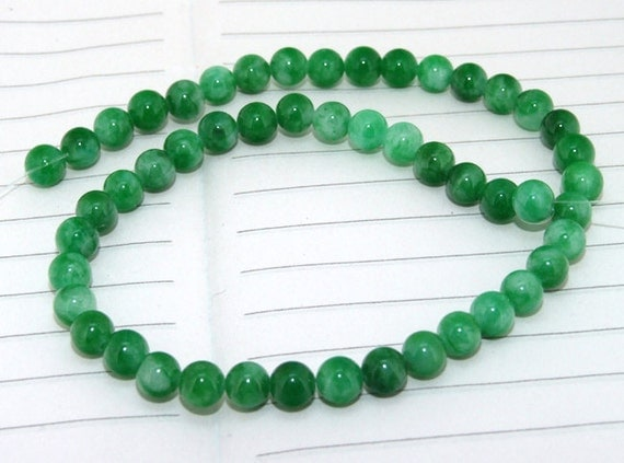Round Candy  Green Jade Beads ----- 6mm ----- about 50Pieces ----- gemstone beads