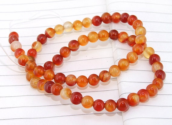 One Full Strand--- Round Candy Red Agate Gemstone Beads----6mm ----about 64Pieces----15inch strand