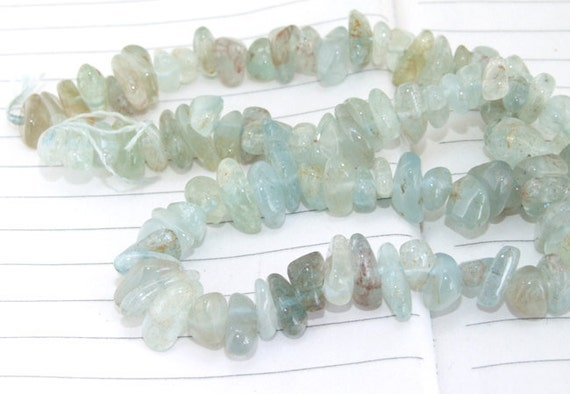 "Full Strand Natural Nugget  Aquamarine Beads ----- 7mmx10mm ----- about 100Pieces ----- gemstone beads--- 16"" in length"