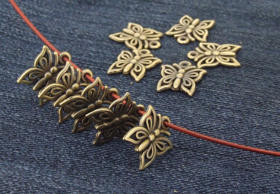 30Beads butterfly bronze  Plated Victorian Connector Link Beads ----- 12mmx15mm -----30 Pieces 2AB