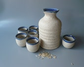 Sake Set for Six in cream-white and midnight blue