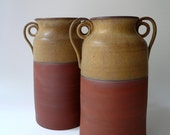 Rustic Terracotta Vase with Spiral Handles in Warm Earth Tones (II) - Large