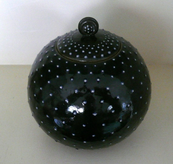 Spherical Ceramic Jar in Deep Dark Blue with White Dots, Orb, Starry Night, Black and White by Cecilia Lind, CrowWhitePottery