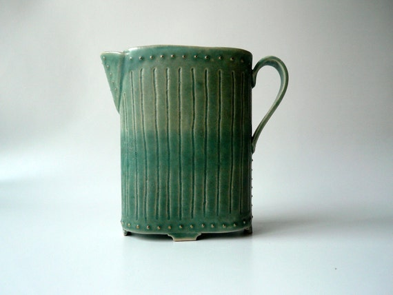 Teal Oval Ewer with Gold Nails
