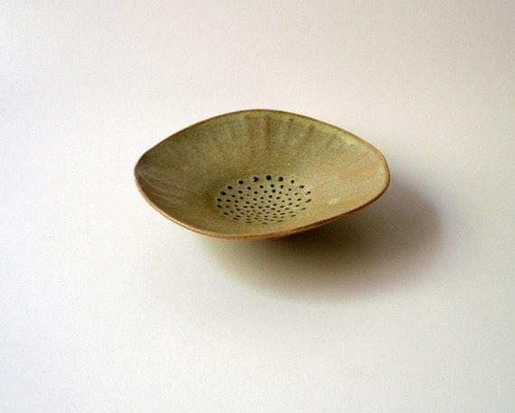 Green Seashell Bowl with Blue Dots