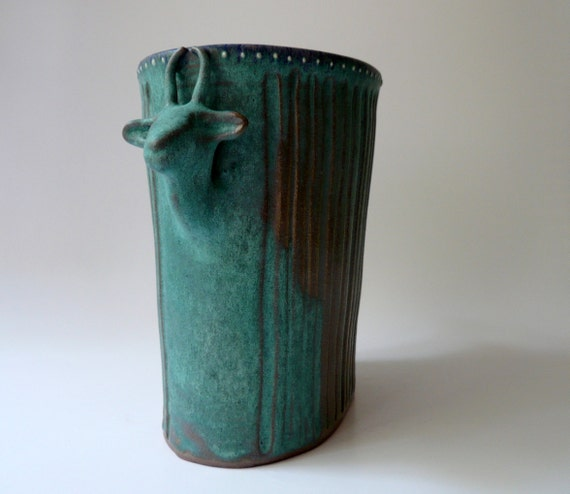 Pottery, Ceramic Oval Gazelle Vase in Variegated Turquoise, Male and Female Hand Sculpted Gazelles, Unique Wedding Gift by Cecilia Lind