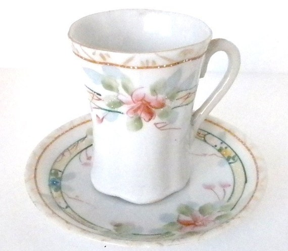 SALE..Vintage, Cup and Saucer, 1951 Pretty White with Pink Flowers